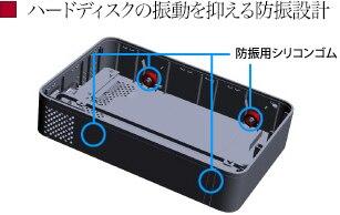 ハードディスクの振動を抑える防振設計