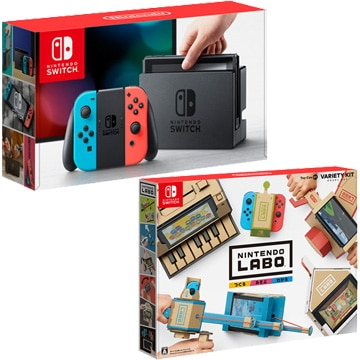 【お得セット】〔1家族1台限定〕 Nintendo Switch Joy-Con(L) ネオンブルー/(R) ネオンレッド+[Switch] Nintendo Labo Toy-Con 01: Variety Kit
