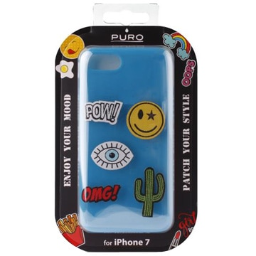 [IPHONEケース] TPU Cover with 5 Patches Included Blue 【対応機種:iPhone7/8】