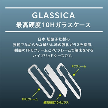 iPhone XS/X [GLASSICA] 背面ガラスケース(Solid color) クリア + ブラック