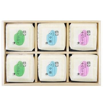 越後ファーム ■【精米】令和元年産 3品種食べ比べ 2合キューブ6つ詰合せ(木箱) 21516