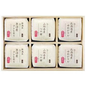 越後ファーム ■【精米】令和元年産 (内祝)人気3品種食べ比べ 2合キューブ6つ詰合せ(木箱) 21512