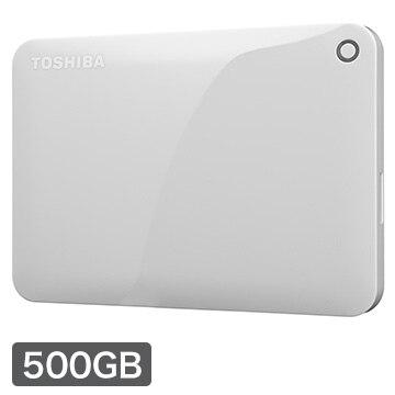 東芝 CANVIO CONNECT ポータブルHDD 500GB ホワイト HD-PF50GW