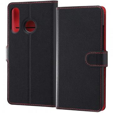 レイアウト P30 lite 手帳型ケース シンプル マグネット /ブラック/レッド RT-HP30LELC1/BR