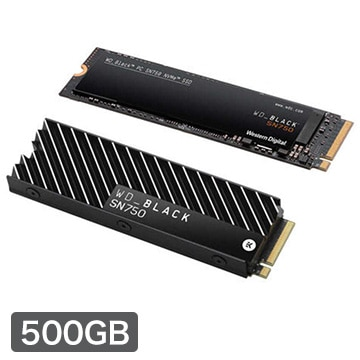 WESTERNDIGITAL 内蔵SSD M.2 2280 500GB Black SN750 NVMe ヒートシンク付 5年保証 WDS500G3XHC