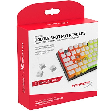 HyperX Double Shot PBT Keycaps - US White/White