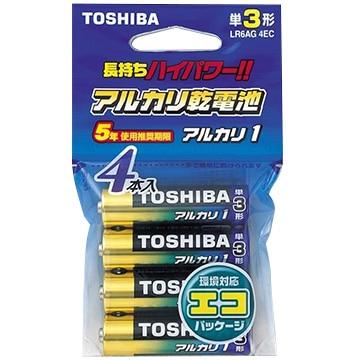 TOSHIBA アルカリ乾電池 単3 4本 エコパッケージ LR6AG4EC