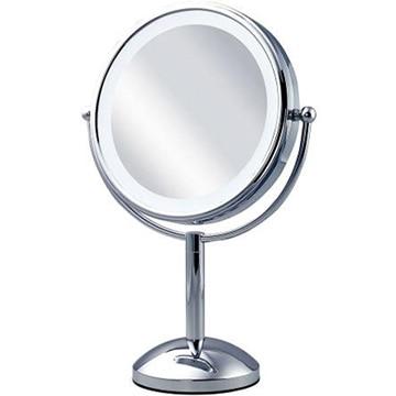 コイズミ 拡大鏡 5倍 丸型 3色LED 両面卓上 20cm シルバー KBE-3100/S