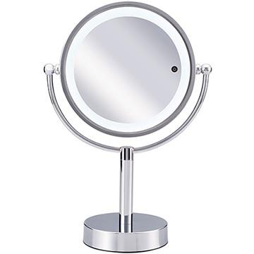 コイズミ ビジョーナ 拡大鏡 5倍 丸型 3色LED 両面卓上 17cm シルバー KBE-3090/S