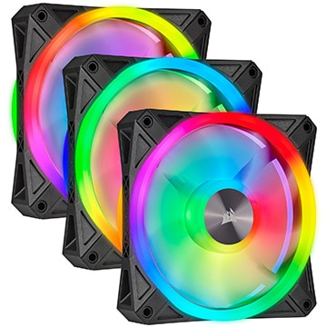 iCUE QL120 RGB 120mm PWM Triple Fan Kit with Lighting Node CORE