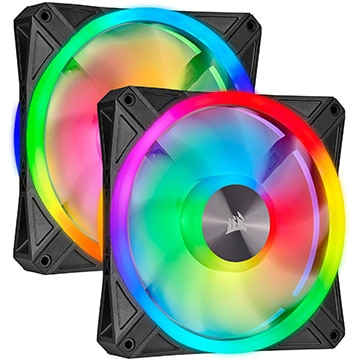 iCUE QL140 RGB 140mm PWM Dual Fan Kit with Lighting Node CORE
