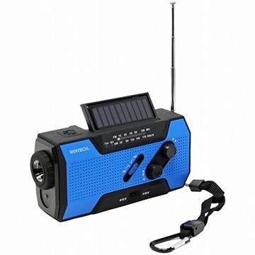 WINTECH 防滴 手回し充電 ラジオライト ブルー KDR-201CWP-BL