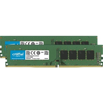 Crucial 64GB Kit (32GBx2) DDR4 3200 MT/s (PC4-25600) CL22 DR x8 Unbuffered DIMM 288pin CT2K32G4DFD832A