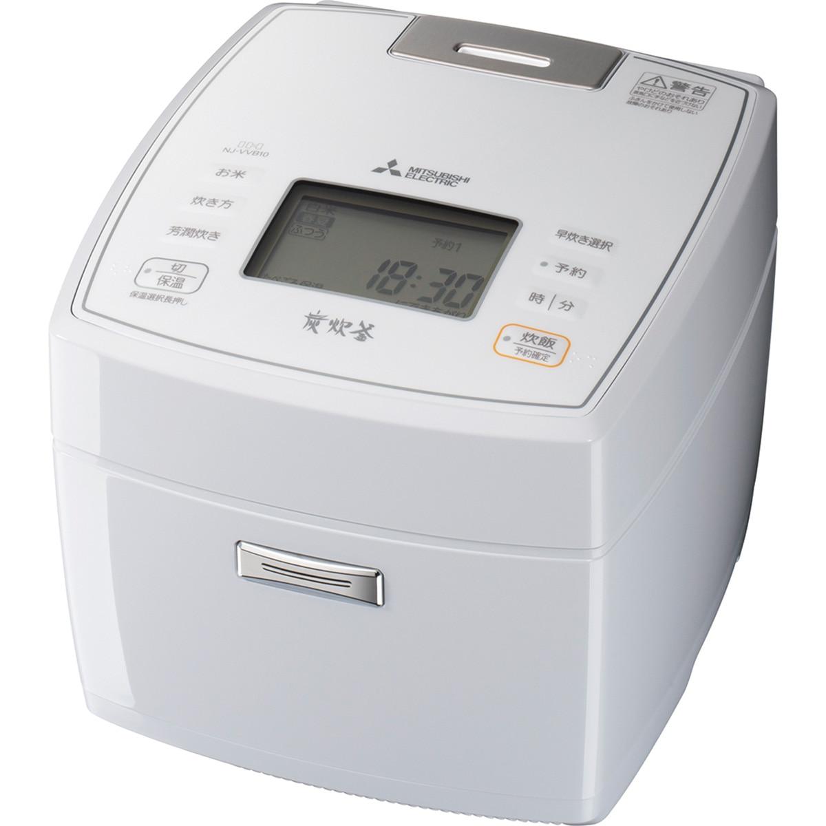 三菱電機 IH炊飯器 炭炊釜 5.5合炊き 月白 NJ-VVB10-W