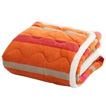 西川 ■アツコマタノ ATSUKO MATANO ボーダー柄 合繊肌掛けふとん オレンジ シングル 洗える AE00600032OR