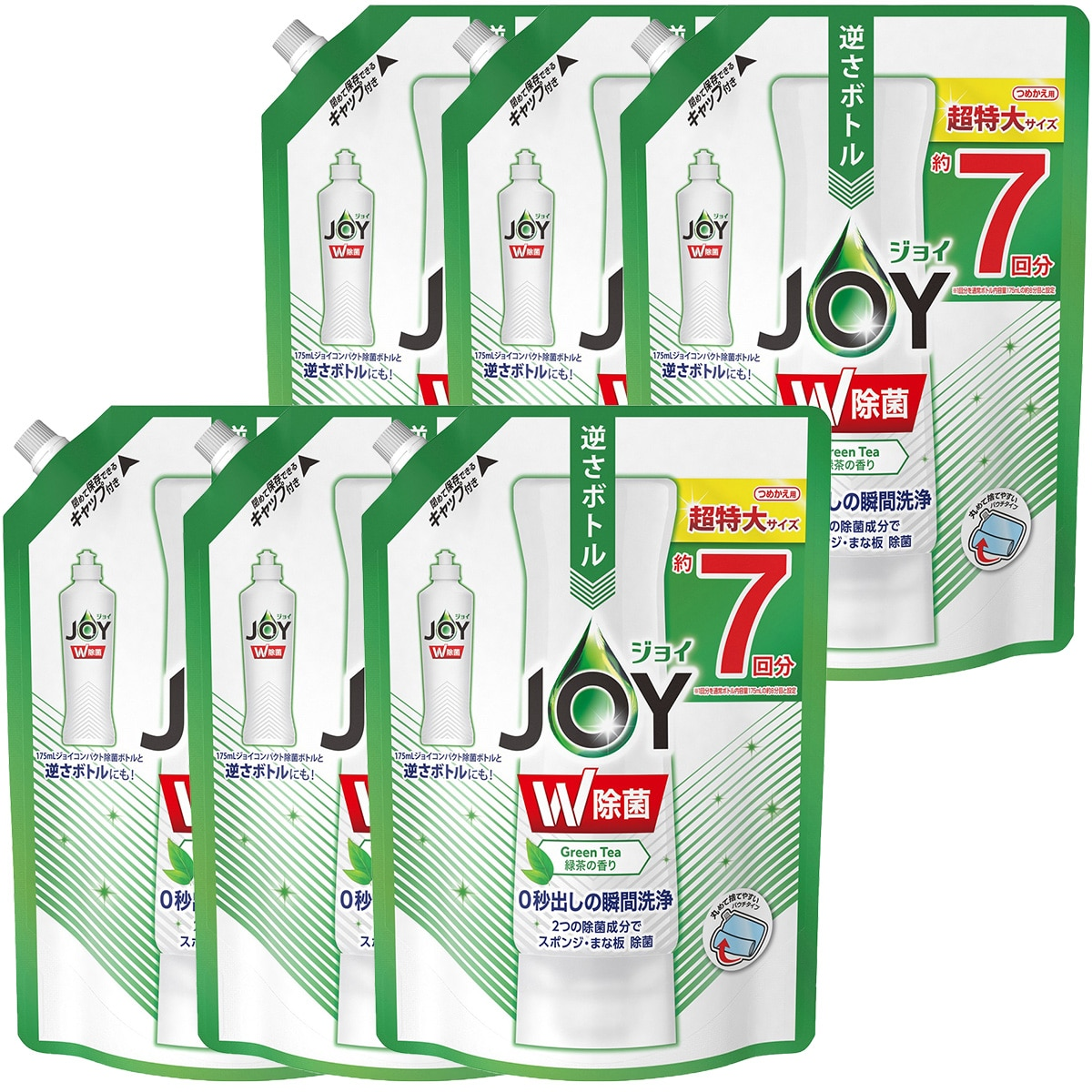 P&G 除菌ジョイ コンパクト 食器用洗剤 緑茶の香り 超特大 960mL×6本