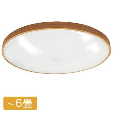 ドウシシャ LEDシーリングライト 6畳用 木目調枠(オーク色) 調光・調色タイプ 5年保証 E51-06DSOK