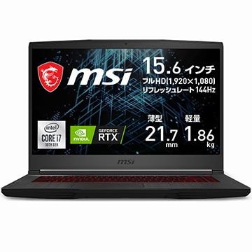 GF65 Thin 10U Corei7 RTX 3060 Laptop GPU 15.6FHD 144Hz 16GB SSD512GB GF65-10UE-258JP