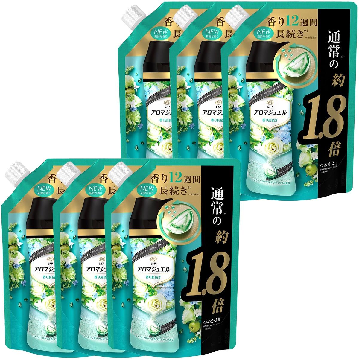 P&G レノア ハピネス アロマジュエル 香りづけ専用ビーズ ヘビロテ服も新鮮な香り長続き パステルフローラル&ブロッサム 詰め替え 約1.8倍(730mL)×6袋