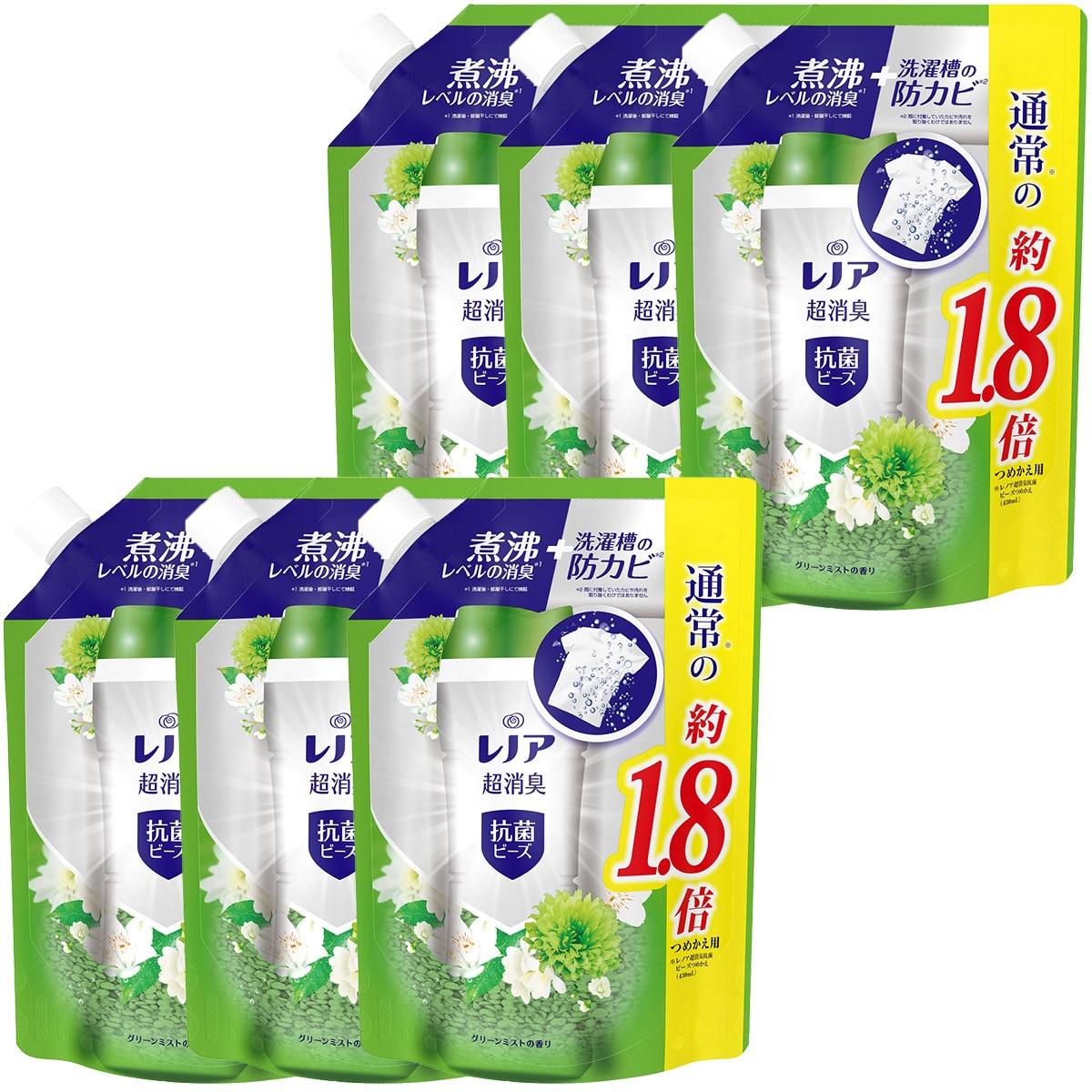 P&G レノア 超消臭+ 抗菌ビーズ グリーンミスト 詰め替え 約1.8倍(760mL/482g)×6袋