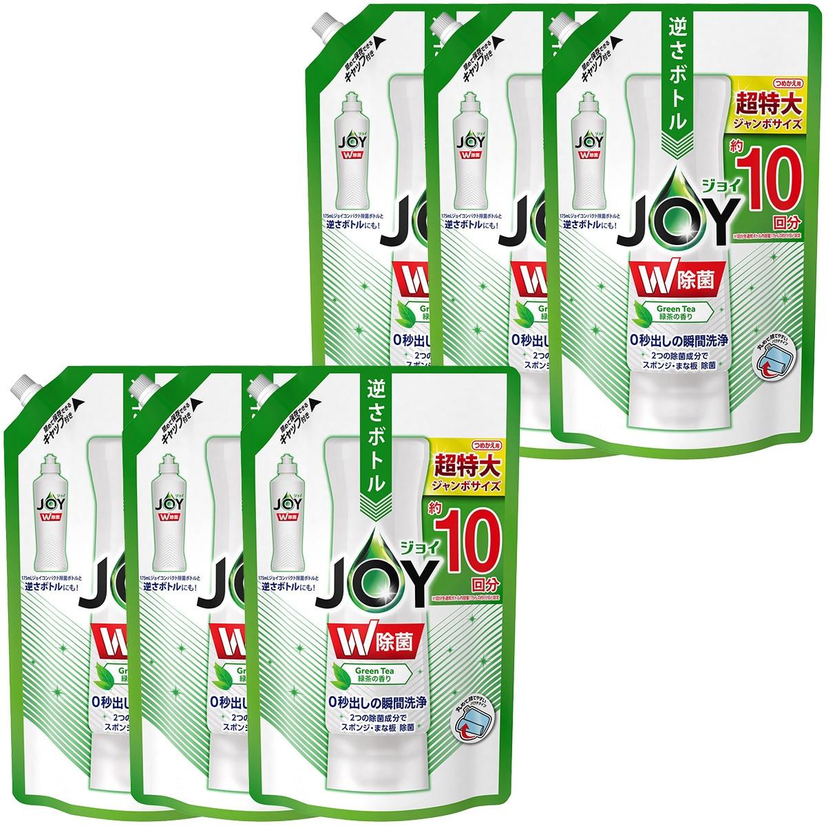 P&G 除菌ジョイ コンパクト 食器用洗剤 緑茶の香り 詰め替え ジャンボ 1330mL×6袋