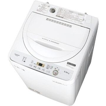 シャープ 全自動洗濯機 5.5kg ホワイト 【配送のみ設置なし 軒先渡し】 ES-GE5C-W