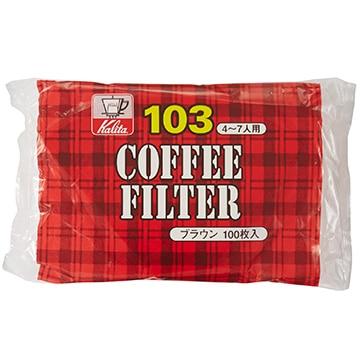 Kalita コーヒーフィルター NK103濾紙 (4~7人用) 100枚入り ブラウン 15083
