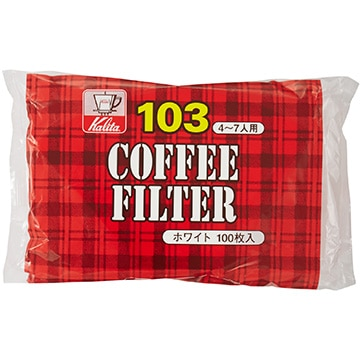 Kalita コーヒーフィルター NK103濾紙 (4~7人用) 100枚入り ホワイト 15081