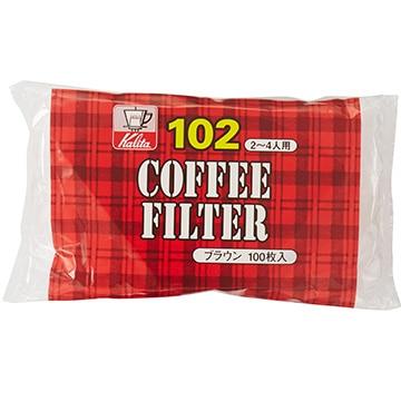 Kalita コーヒーフィルター NK102濾紙 (2~4人用) 100枚入り ブラウン 13125