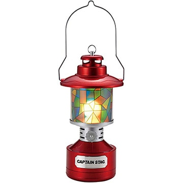 パール金属 CAPTAIN STAG ツインライトLEDランタン(レッド)(ステンドグラスシート付) UK-4032