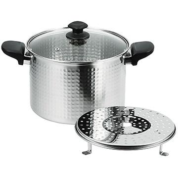 パール金属 和らぎ ステンレス製ガラス蓋付深型煮込み鍋22cm(目皿付) HB-4789