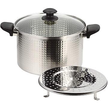 パール金属 和らぎ ステンレス製ガラス蓋付深型煮込み鍋26cm(目皿付) HB-4790