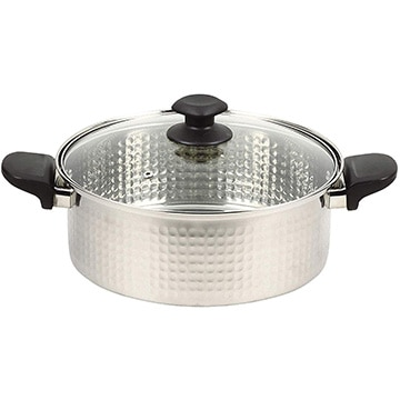 パール金属 和らぎ ステンレス製ガラス蓋付煮込み鍋26cm HB-4791