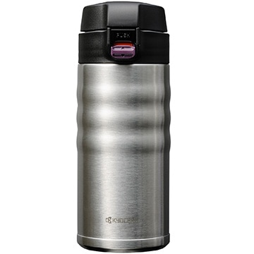 京セラ ★セラブリッドマグボトル 350ml シルバー ワンタッチ栓 セラミック塗装加工 コーヒーOK MB-12F_SS