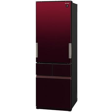 シャープ どっちもドア 4ドア冷蔵庫(415L) グラデーションレッド【大型商品(設置工事可)】 SJ-GT42E-R