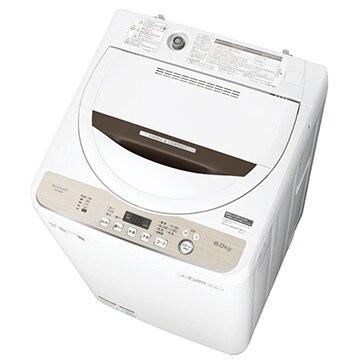 SHARP 全自動洗濯機(6kg) ブラウン系【大型商品(設置工事可)】 ES-GE6D-T