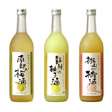 世界一統 「和歌のめぐみ」ギフトセット(梅酒/桃酒/柚子酒)