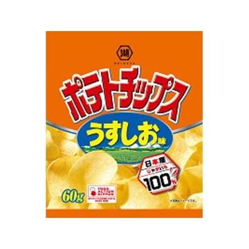 【送料無料】湖池屋 ポテトチップス うすしお味 60g x 12