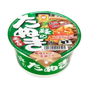 東洋水産 マルちゃん 緑の豆たぬき 天そば 東 カップ 45g x 12
