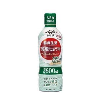 【12個入り】ヤマサ 鮮度生活 減塩しょうゆ鮮度ボトル 600ml