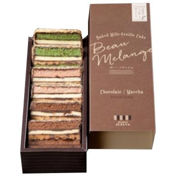 モントレーふくや 新感覚ミルフィーユケーキ ボー メランジュ 6個(抹茶 イチゴ チョコ各2個)