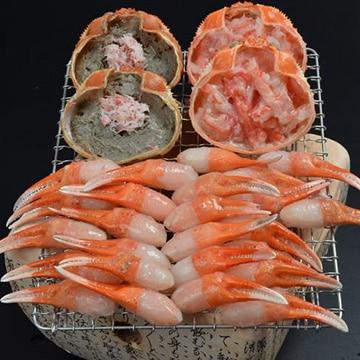 大漁市場なかうら(中浦食品) 境港産 紅ずわいがに 焼きがに詰合せ かに身甲羅盛 80g ×2個 かにみそ甲羅盛 45g ×2個紅ずわいがに親爪 300g ×1袋 かに酢 15g ×2袋
