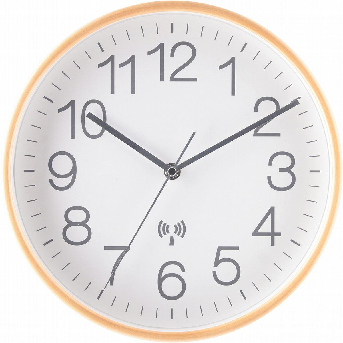 不二貿易 電波掛時計 プライウッド Φ28cm WH(85352) 27352