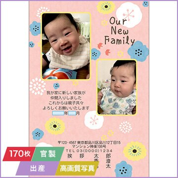 NTTぷらら 挨拶状印刷 「出産」(官製はがき代込み) 高画質写真入稿タイプ 170枚セット 3708
