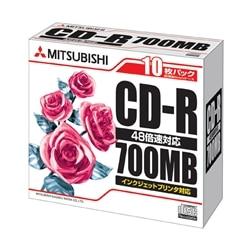 三菱電機 CD-R 700MB 4-48x 10枚スリムケース ホワイト SR80PP10