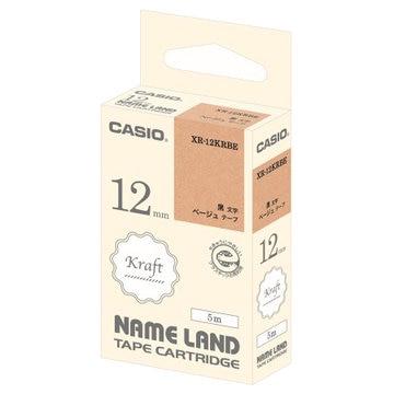カシオ CASIO クラフトテープ 12mm ベージュ/黒字 XR-12KRBE
