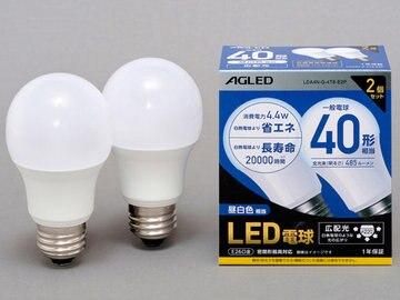 アイリス LED電球 E26 広配光 40形相当 昼白色 2個 LDA4N-G-4T6-E2P