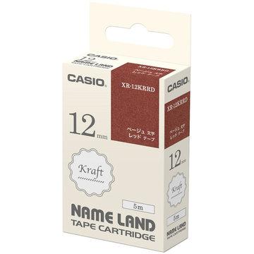 カシオ CASIO ネームランド用クラフトテープ 12mm レッド/ベージュ文字 XR-12KRRD