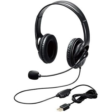 ELECOM ヘッドセット/Φ40mmドライバー/両耳/USB HS-103UBK