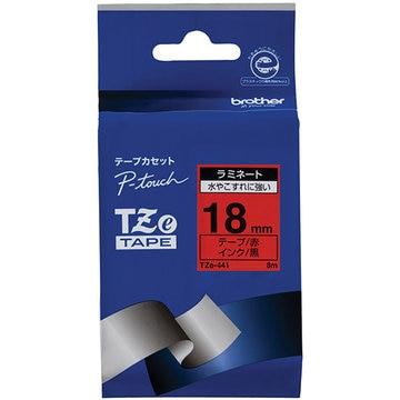 ブラザー ラミネートテープ(赤地/黒字) 18mm TZe-441